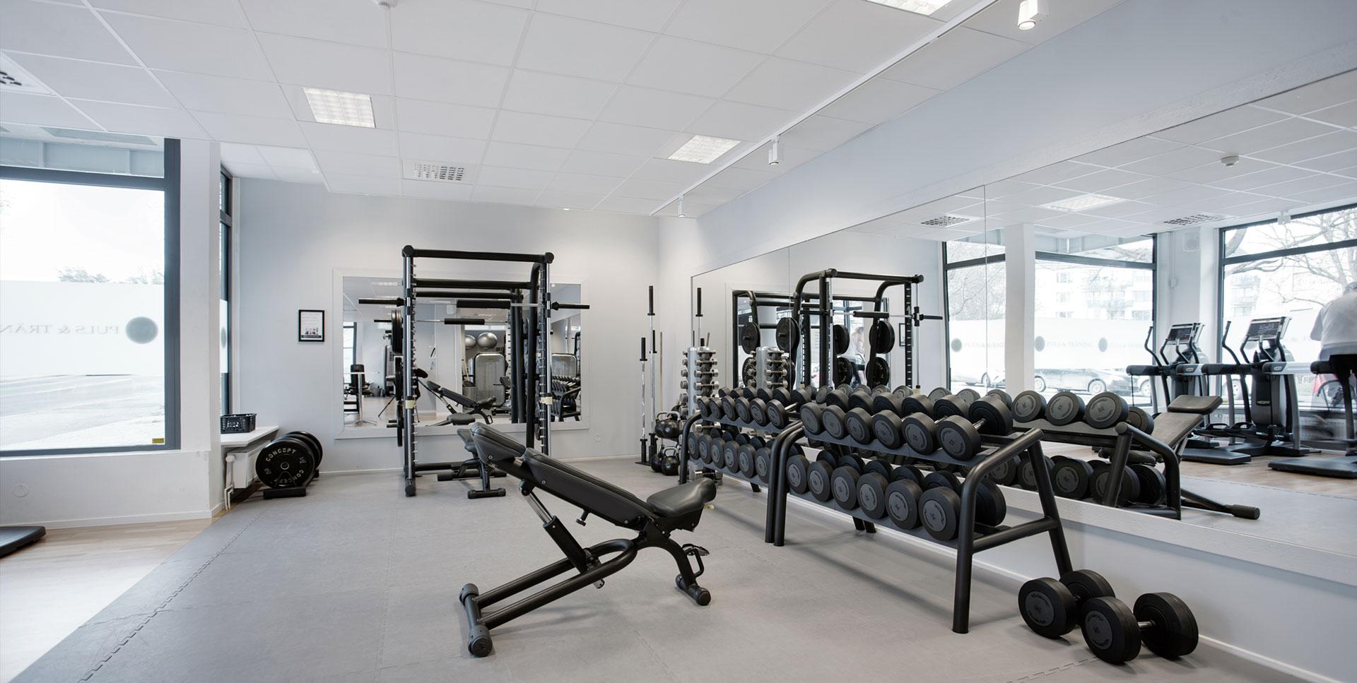 Bild inifrån gymmet på Puls & Träning Råcksta